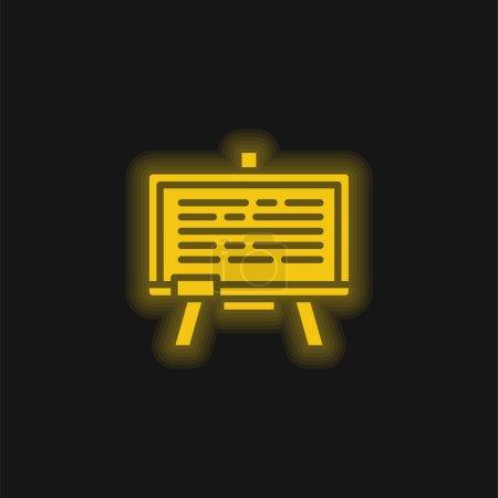 Blackboard yellow glowing neon icon