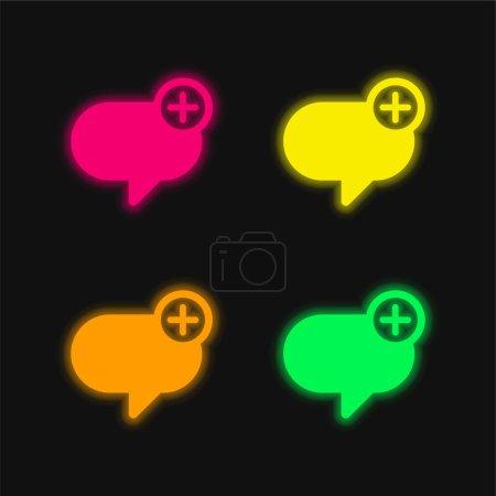 Illustration pour Ajouter un message quatre couleurs rougeoyantes icône vectorielle néon - image libre de droit