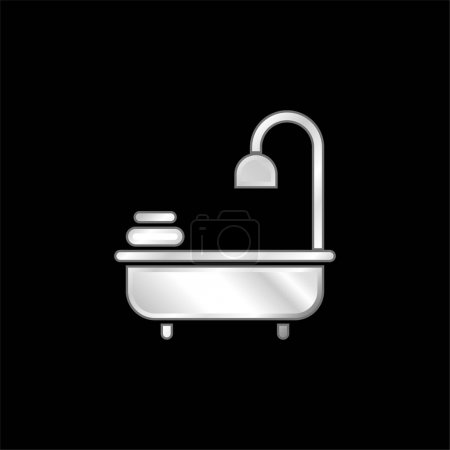 Bathtub silver plated metallic icon