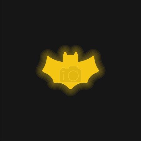 Illustration pour Icône néon jaune chauve-souris - image libre de droit