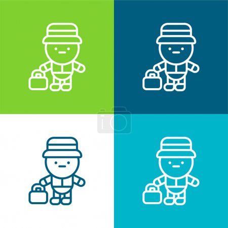 Illustration pour Ensemble d'icônes minimal Bell Boy Flat quatre couleurs - image libre de droit