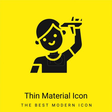 Illustration pour Garçon minimal jaune vif icône matérielle - image libre de droit