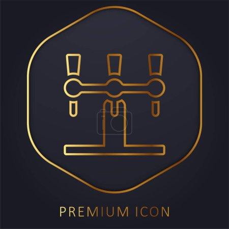 Photo pour Robinet de bière ligne d'or logo premium ou icône - image libre de droit
