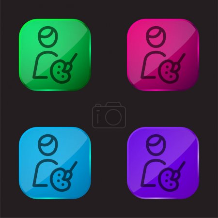 Illustration for Artist four color glass button icon - Royalty Free Image