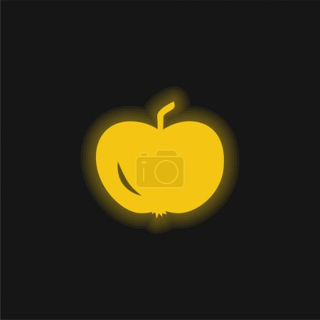 Illustration for Apple Of Black Shape yellow glowing neon icon - Royalty Free Image