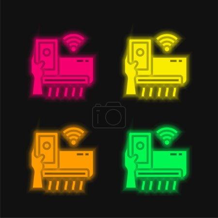 Photo pour Climatiseur quatre couleurs brillant icône vectorielle néon - image libre de droit