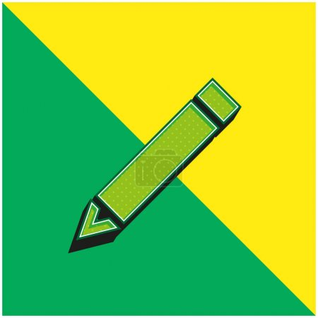 Illustration pour Crayon diagonal noir Logo vectoriel 3d moderne vert et jaune - image libre de droit
