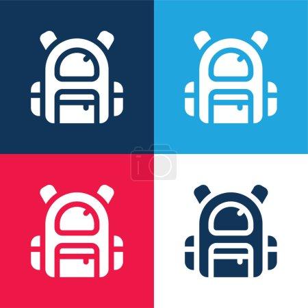 Illustration pour Sac à dos bleu et rouge quatre couleurs minimum jeu d'icônes - image libre de droit