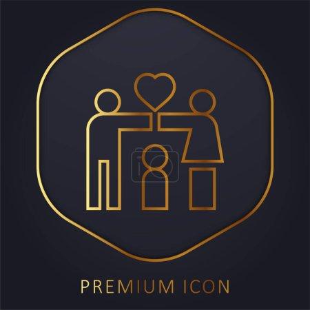Adoption golden line premium logo or icon