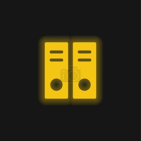 Illustration pour Archive Documents jaune brillant icône néon - image libre de droit
