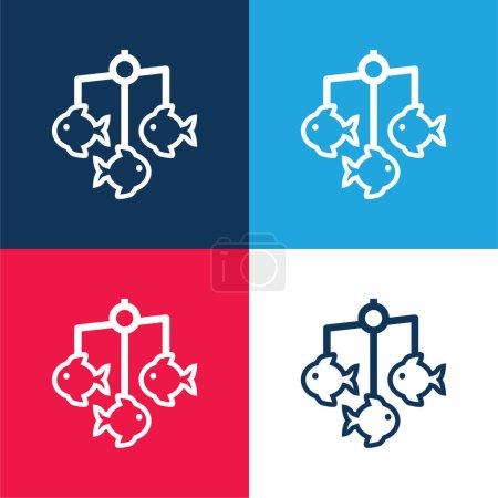 Berceau Mobile bleu et rouge ensemble d'icônes minimes quatre couleurs