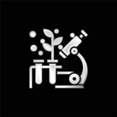 Illustration pour Biologie icône métallique argentée - image libre de droit