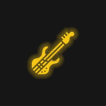 Bass Guitar yellow glowing neon icon