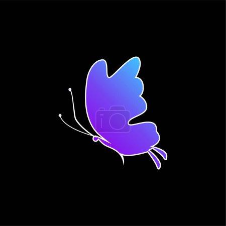 Photo pour Belle silhouette papillon bleu dégradé icône vectorielle - image libre de droit