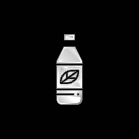 Illustration for Bottle silver plated metallic icon - Royalty Free Image