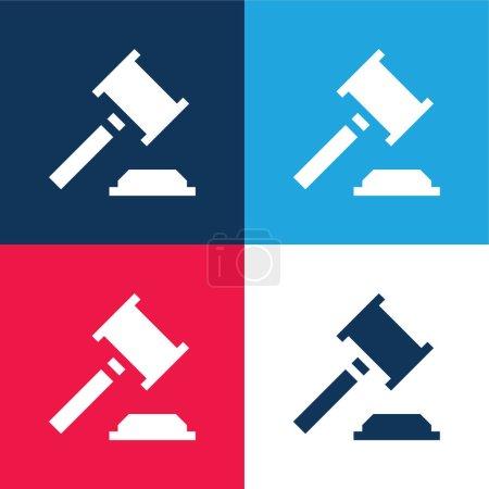 Illustration pour Enchère bleu et rouge quatre couleurs minimum jeu d'icônes - image libre de droit