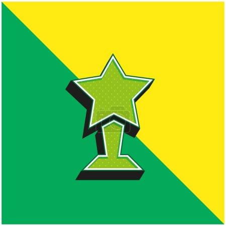 Illustration pour Award Logo vectoriel 3d moderne vert et jaune - image libre de droit