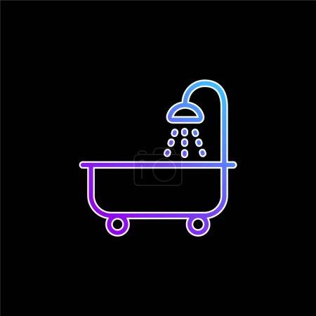 Tube de bain avec icône vectorielle dégradé bleu douche