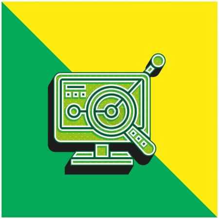 Illustration pour Analyste Logo vectoriel 3D moderne vert et jaune - image libre de droit