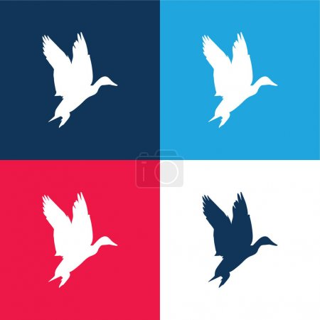 Photo for Bird Waterfowl Shape blue and red four color minimal icon set - Royalty Free Image