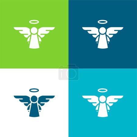 Foto de Angel Flat conjunto de iconos mínimos de cuatro colores - Imagen libre de derechos