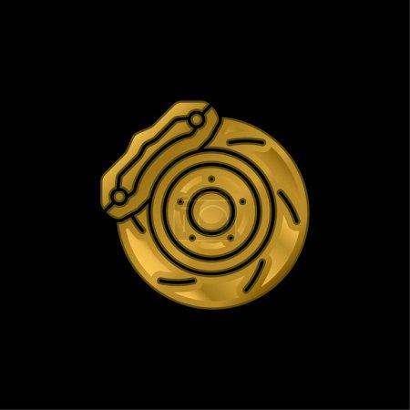 Illustration pour Icône métallique plaquée or frein ou vecteur de logo - image libre de droit