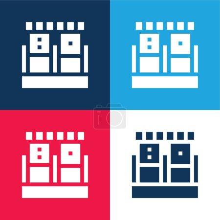 Photo pour Échantillon de sang bleu et rouge quatre couleurs minimum jeu d'icônes - image libre de droit