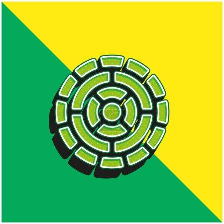 Aztec Calendar Green and yellow modern 3d vector icon logo