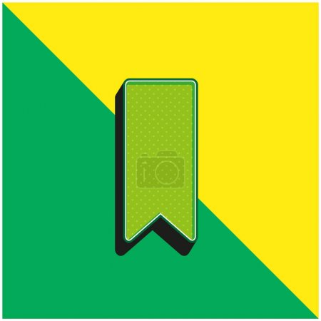 Bookmark Black Shape Green and yellow modern 3d vector icon logo
