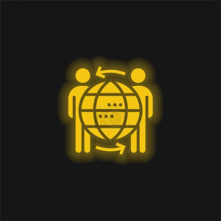Illustration for B2b yellow glowing neon icon - Royalty Free Image