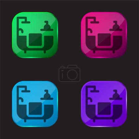 Bathroom four color glass button icon