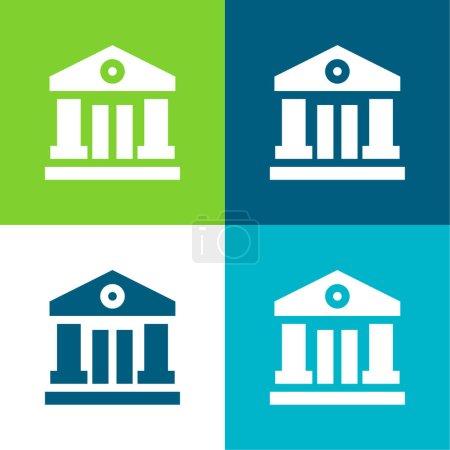 Photo pour Ensemble d'icônes minimum Bank Flat quatre couleurs - image libre de droit
