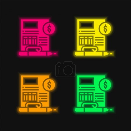 Balance Sheet four color glowing neon vector icon