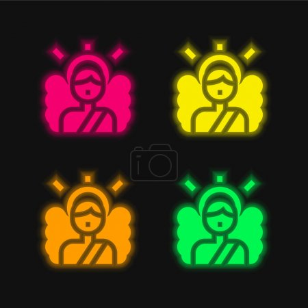 Photo for Angel four color glowing neon vector icon - Royalty Free Image