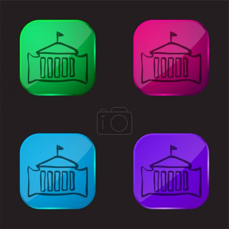 Bâtiment administratif avec drapeau dessiné à la main Décrivez l'icône de bouton en verre de quatre couleurs
