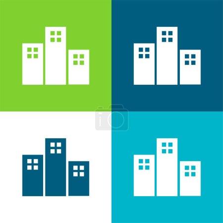 Photo pour Appartements Bâtiments Ensemble d'icônes minimal plat quatre couleurs - image libre de droit