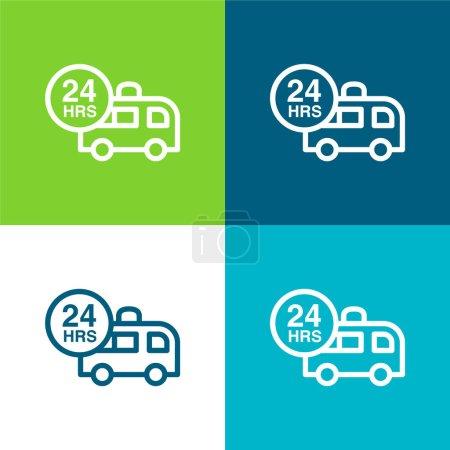 Illustration for Ambulance Assistance 24 Hours Flat four color minimal icon set - Royalty Free Image