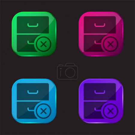 Illustration for Archive four color glass button icon - Royalty Free Image