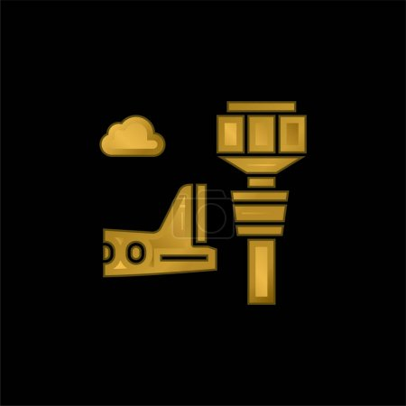 Photo for Airport Tower gold plated metalic icon or logo vector - Royalty Free Image