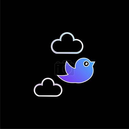 Bird Flying Between Clouds blue gradient vector icon