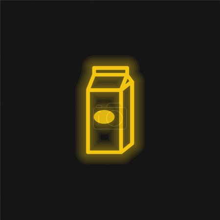 Box Liquid Food Container Outline yellow glowing neon icon