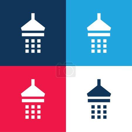 Salle de bain Douche bleu et rouge quatre couleurs minimum icône ensemble