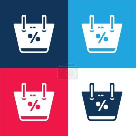 Illustration pour Panier bleu et rouge quatre couleurs minimum jeu d'icônes - image libre de droit