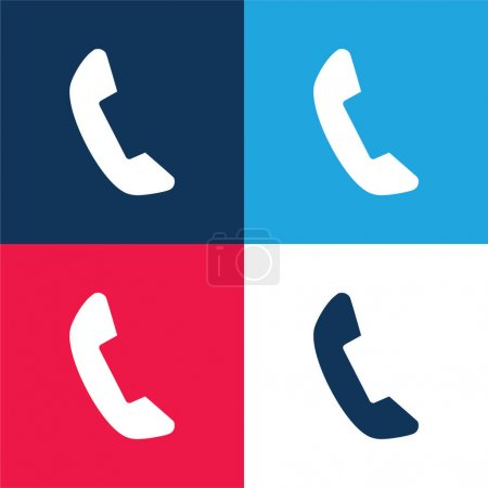 Black Telephone Auricular blue and red four color minimal icon set