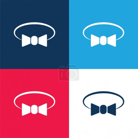 Bow Tie Variant blue and red four color minimal icon set