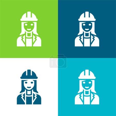 Illustration pour Architecte Ensemble d'icônes minimal plat quatre couleurs - image libre de droit