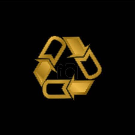 Flechas Triángulo chapado en oro icono metálico o logo vector