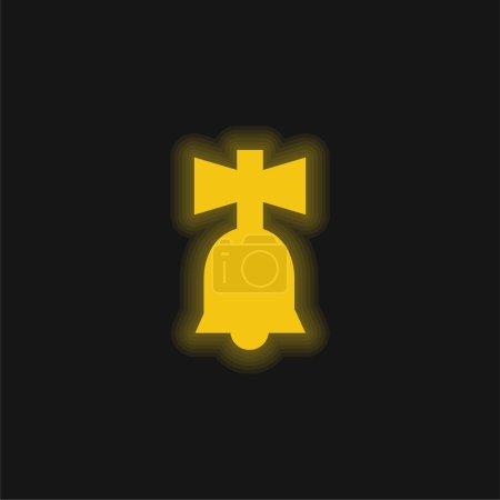 Illustration pour Bell Toy jaune brillant icône néon - image libre de droit