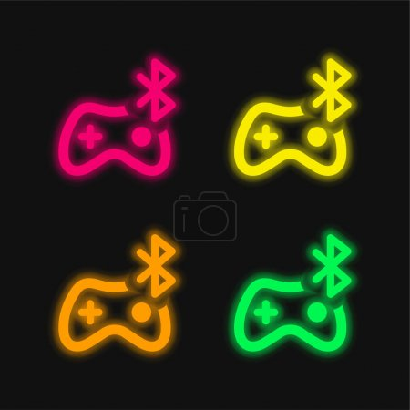 Bluetooth four color glowing neon vector icon