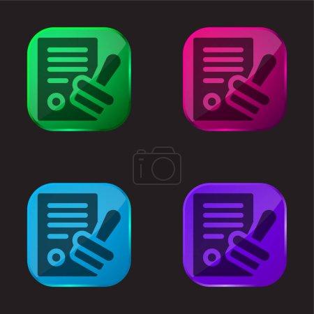 Approve four color glass button icon